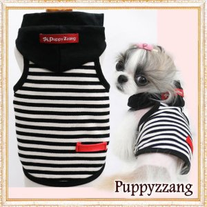 画像1: 【新作】【犬 服】【Sale】【1580円】フード付きボーダータンクトップTEE【Puppyzzang】【メール便OK】