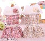 犬 服 犬の服 Sale ドッグウェア ワンピース ドレス  ファー&パール装飾のツイードドレス【メール便可】