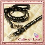 クロコエナメル風 カラー&リード黒(首輪&リードのセット)